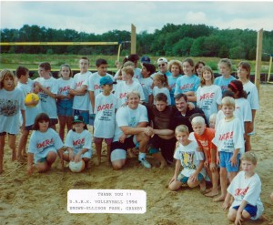 Patrolmanen Dan Menard and larry Carmen with their 1994 Volleyball Program Participants